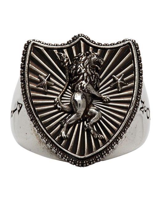 Bague argentee Lion Shield Alexander McQueen pour homme en coloris Metallic