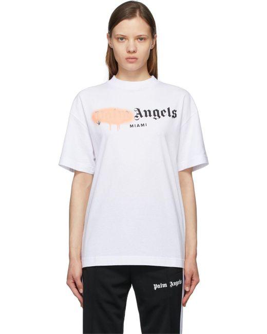 Palm Angels ホワイト & ピンク Miami Sprayed ロゴ T シャツ White