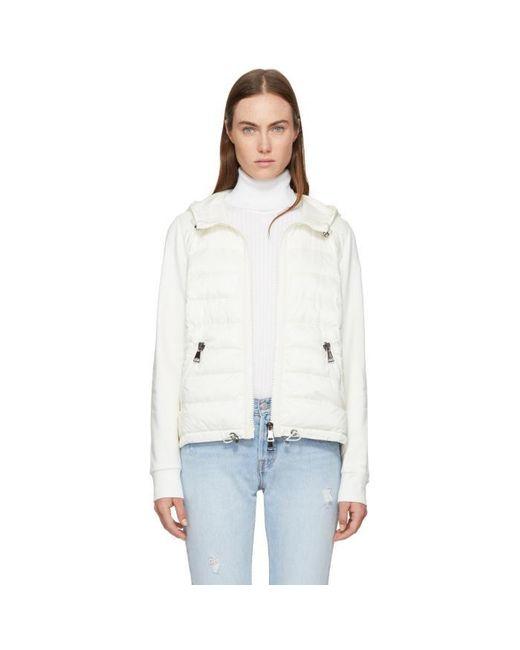 Moncler | White Down & Jersey Jacket | Lyst