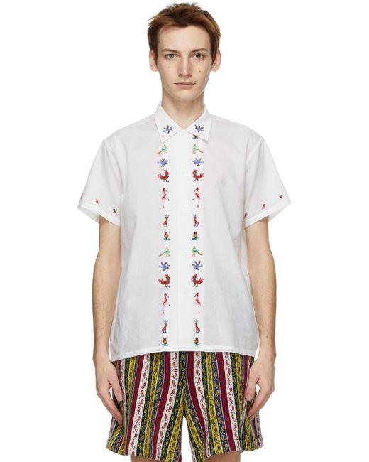 メンズ Bode ホワイト Cross-stitch Bird ショート スリーブ シャツ White