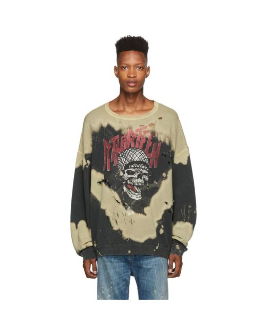 R13 Multicolor Black Battle Punk Oversized Crewneck Sweatshirt for men