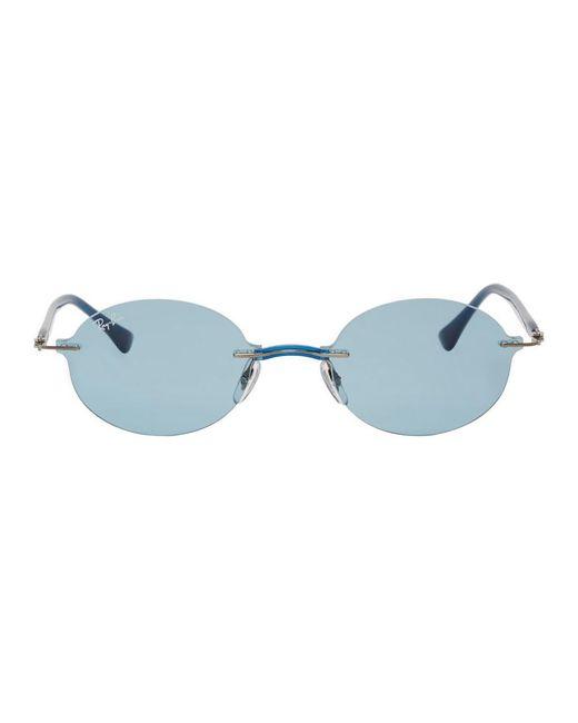 メンズ Ray-Ban ブルー ラウンド リムレス サングラス Blue