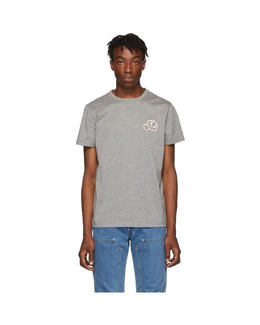 メンズ Moncler グレー ロゴ パッチ T シャツ Gray