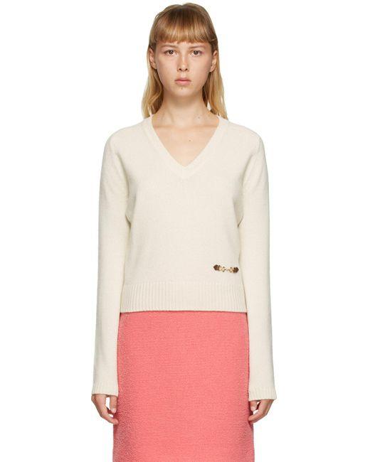 Gucci オフホワイト カシミア ホースビット V ネック セーター White