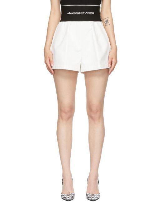 Alexander Wang ホワイト ロゴ Elastic Safari ショーツ White