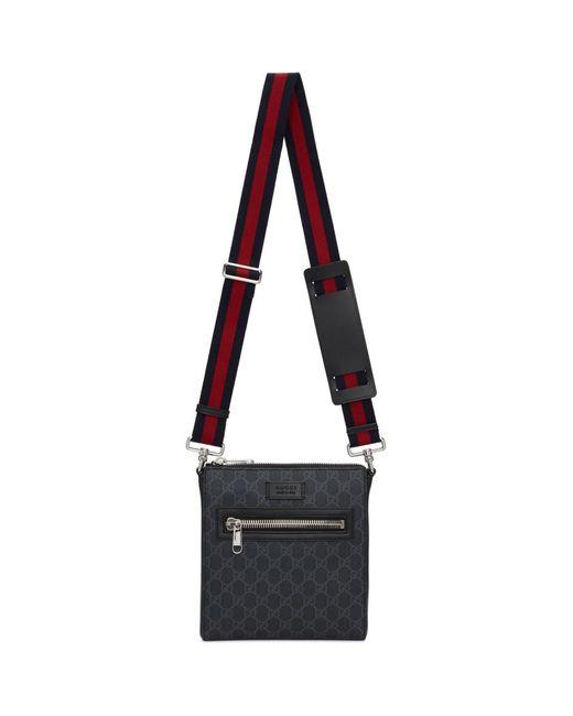Gucci Black Small GG Supreme Messenger Bag for men
