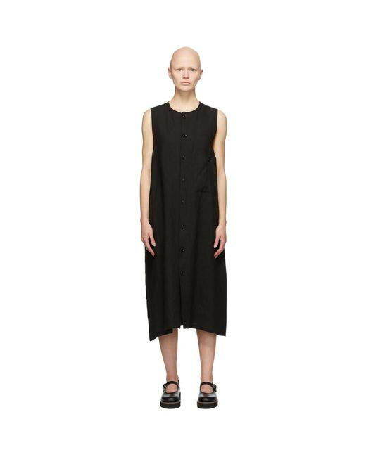 Y's Yohji Yamamoto ブラック リネン Pocket ミッドレングス ドレス Black