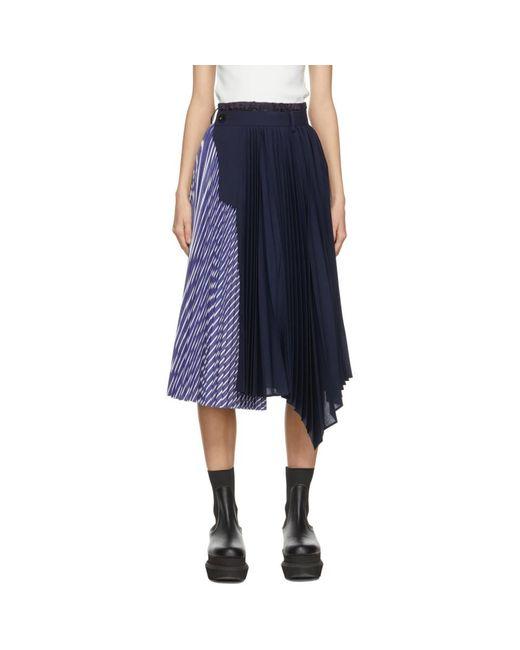 Sacai ネイビー And ブルー スカート Blue