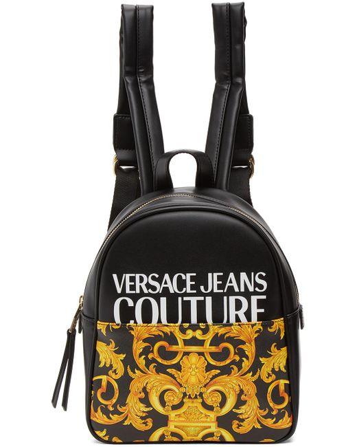 Versace Jeans ブラック & イエロー スモール Baroque バックパック Black