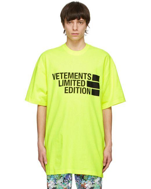 メンズ Vetements イエロー Limited Edition Big ロゴ T シャツ Yellow