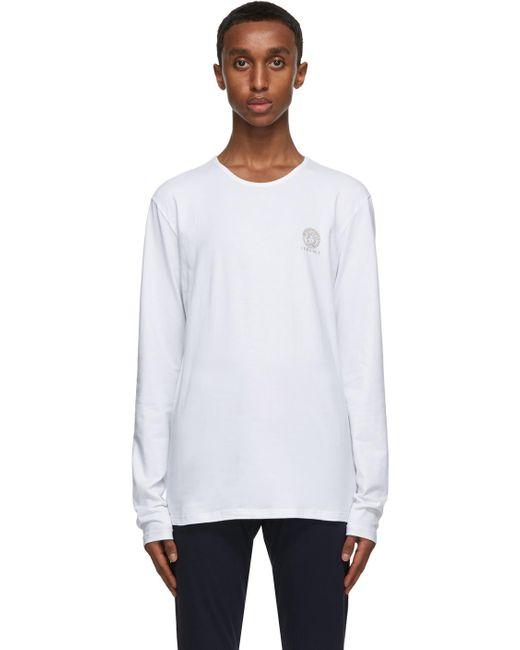 メンズ Versace ホワイト Medusa ロング スリーブ T シャツ White