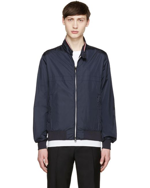 Moncler | Blue Navy Nylon Bomber Jacket for Men | Lyst