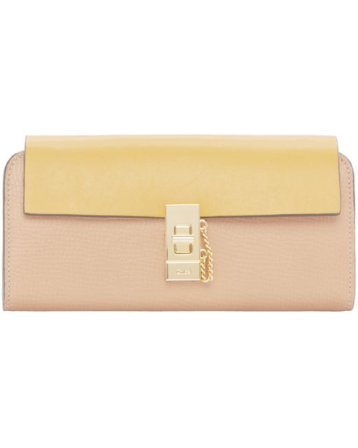 Chlo�� Yellow And Tan Long Flap Drew Wallet in Beige (yellow) | Lyst