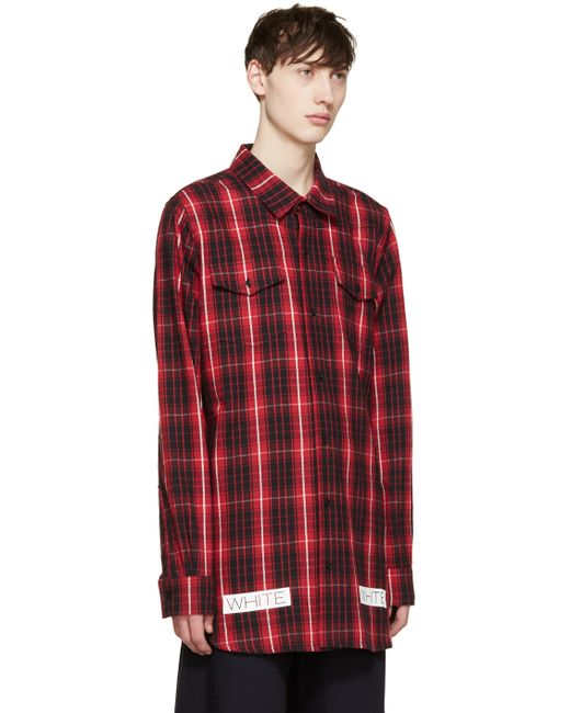 Off white c o virgil abloh red and black flannel check for Red black and white flannel shirt