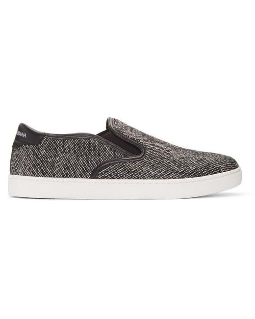 Dolce & Gabbana | Gray Grey Tweed Slip-on Sneakers for Men | Lyst