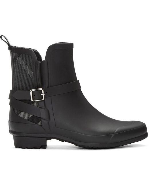 Burberry   Black Riddlestone Wrap Rain Booties   Lyst