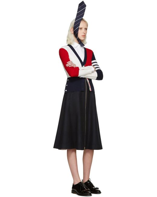 Thom browne Tricolor Cashmere Cardigan in Blue