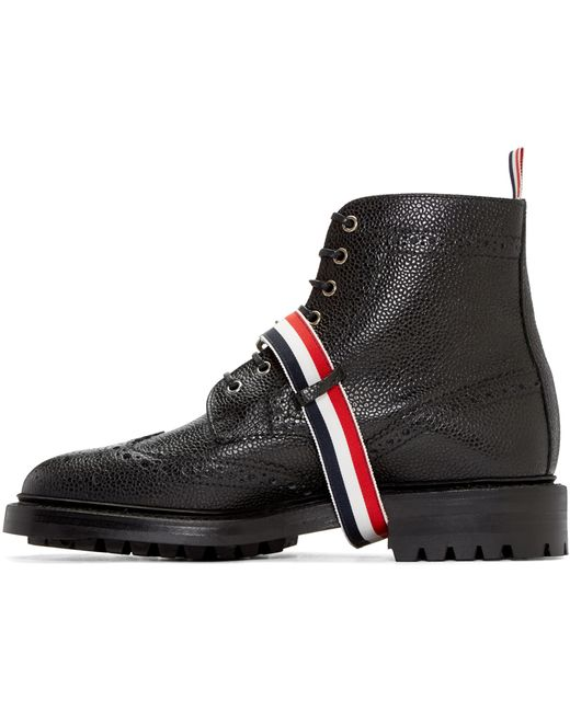 thom browne black leather wingtip boots in multicolor for
