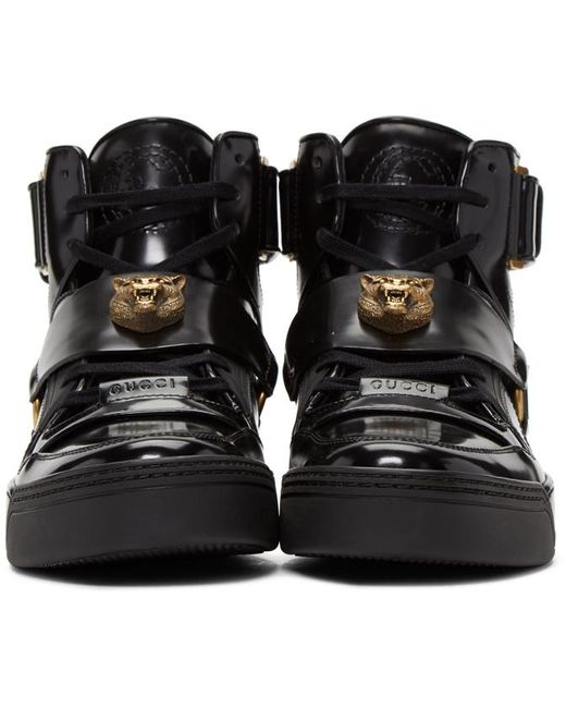Gucci Black Tiger High Top Sneakers In Black For Men Lyst