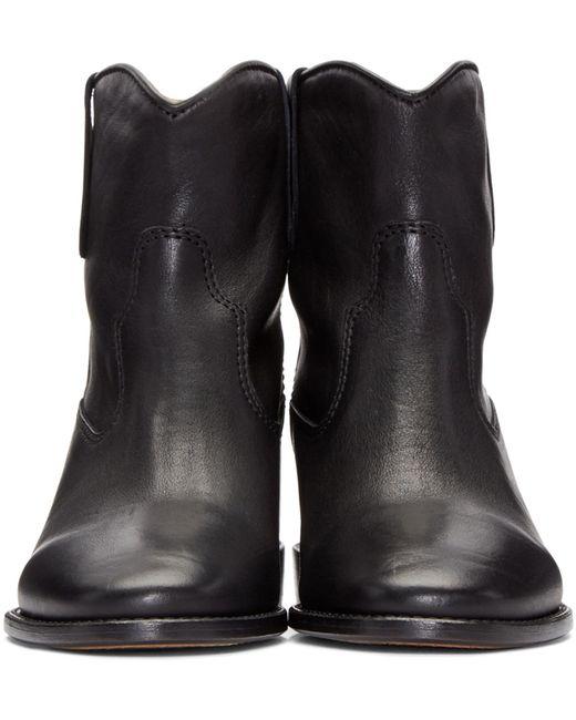 isabel marant cluster leather boots in black save 62 lyst. Black Bedroom Furniture Sets. Home Design Ideas