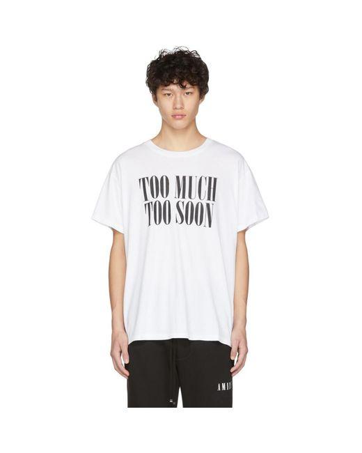 メンズ Amiri ホワイト Too Much Too Soon T シャツ White