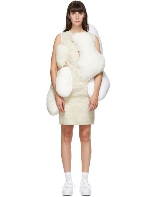 Comme des Garçons ベージュ & オフホワイト パッド ドレス White