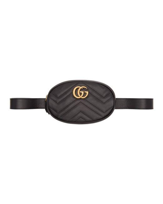 aa25efda2 Gucci Black GG Marmont 2.0 Belt Bag in Black - Lyst