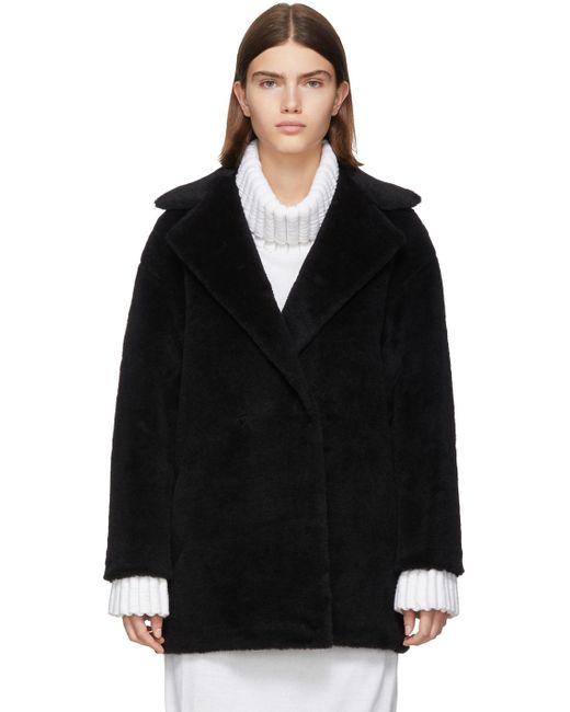 Harris Wharf London ブラック アルパカ テディ ダブルブレスト コート Black