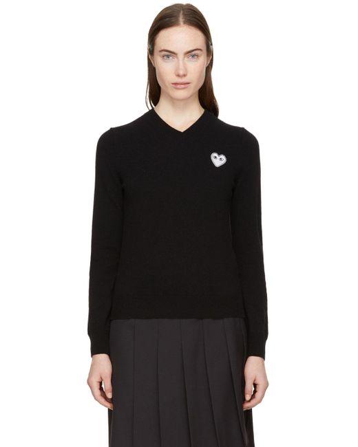 COMME DES GARÇONS PLAY ブラック ハート パッチ V ネック セーター Black