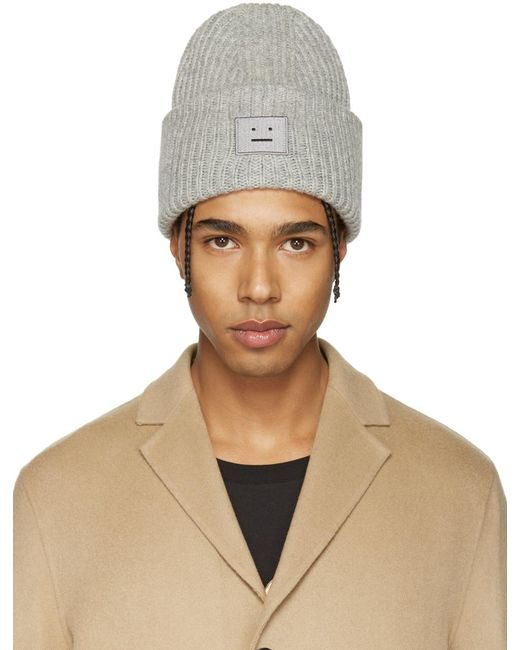 Acne | Gray Grey Pansy H Beanie for Men | Lyst