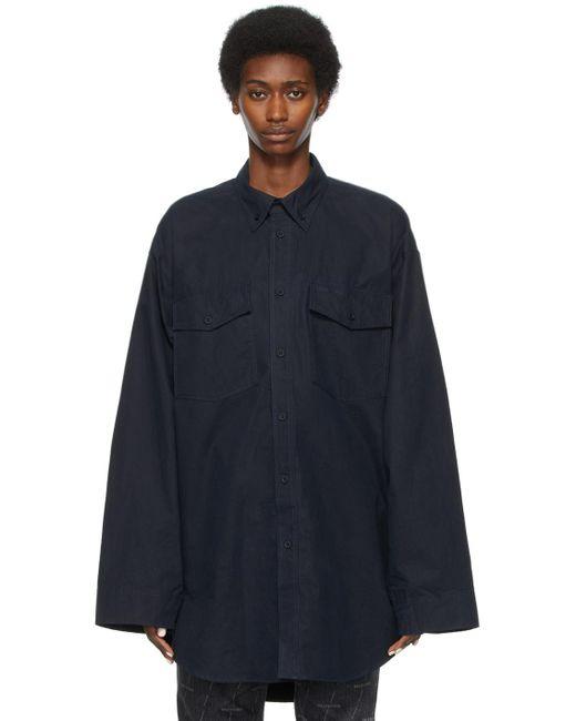 Balenciaga ネイビー オーバーサイズ シャツ Blue