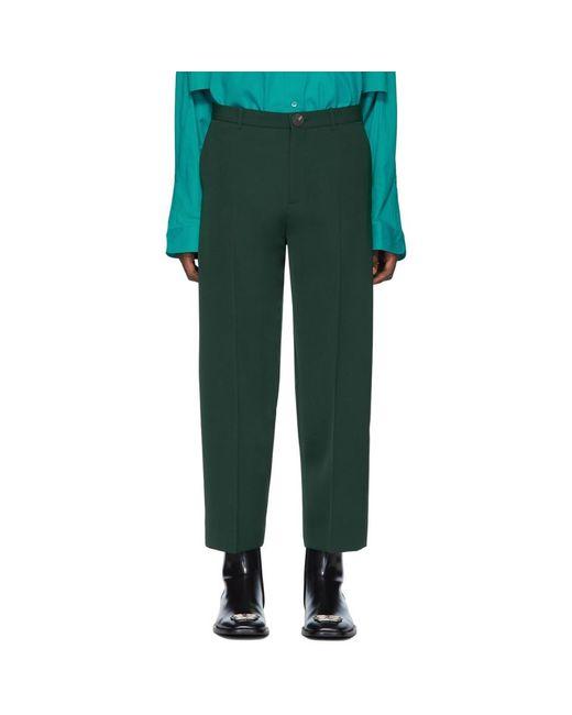 メンズ Balenciaga グリーン クロップド トラウザーズ Green