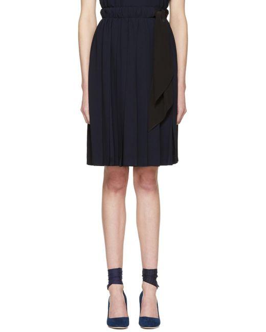 Miu Miu | Blue Navy Pleated Bow Skirt | Lyst