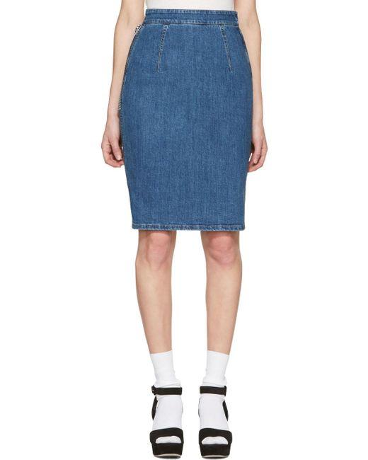 Miu Miu | Blue Denim Pencil Skirt | Lyst