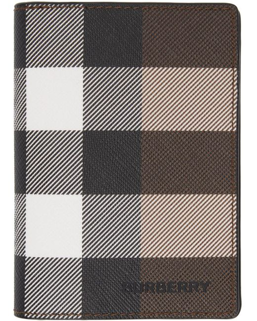 メンズ Burberry ブラウン Eキャンバス ジャイアント チェック Flint バイフォールド カード ケース Brown