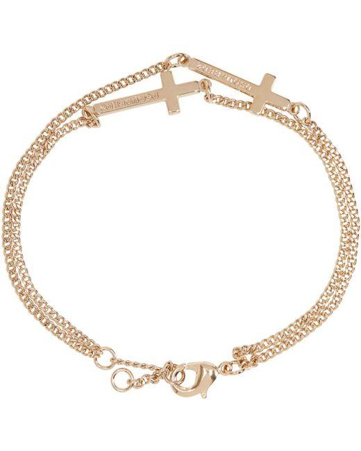 DSquared² | Metallic Gold Double Cross Bracelet for Men | Lyst