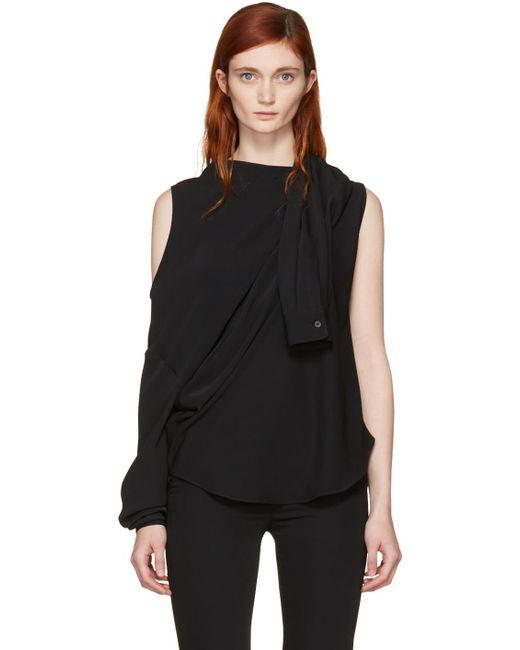 MM6 by Maison Martin Margiela | Black Fluid Single-sleeve Blouse | Lyst