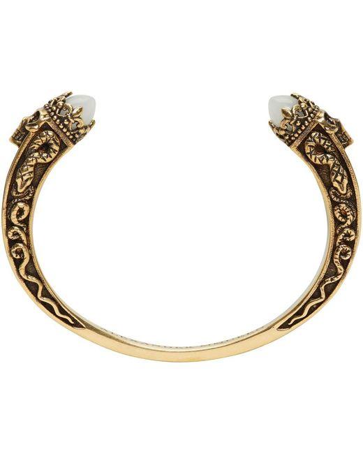 Alexander McQueen   Metallic Gold Twin Skull & Snake Bracelet   Lyst