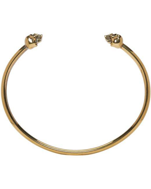 Alexander McQueen   Metallic Gold Thin Twin Skull Bracelet for Men   Lyst