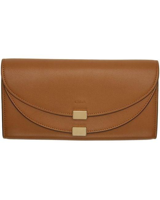 Chloé | Brown Tan Long Georgia Flap Wallet | Lyst
