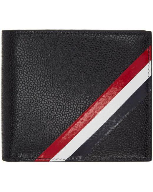 Thom Browne | Black Striped Pebble-grain Leather Billfold Wallet for Men | Lyst