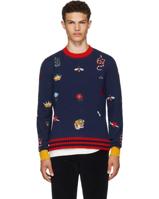 Gucci Embroidered Sweater In Blue For Men Lyst