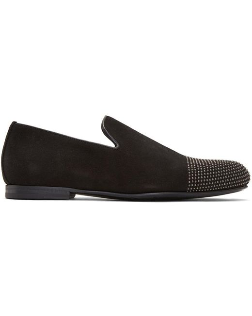 Jimmy Choo | Black Suede Studded Sloane Loafers for Men | Lyst
