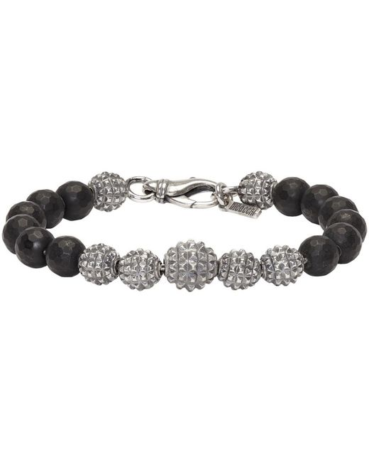 Emanuele Bicocchi | Metallic Silver & Black Beaded Bracelet for Men | Lyst