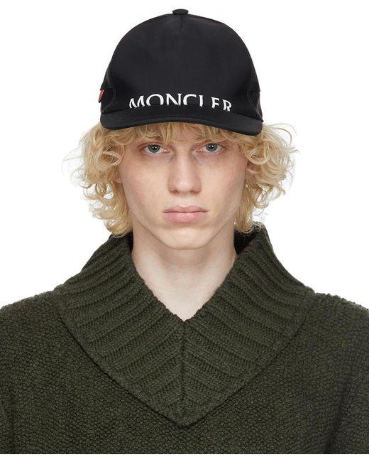 メンズ Moncler ブラック ロゴ キャップ Black