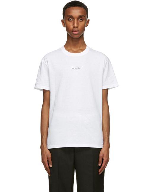 メンズ Valentino ホワイト ロゴ T シャツ White