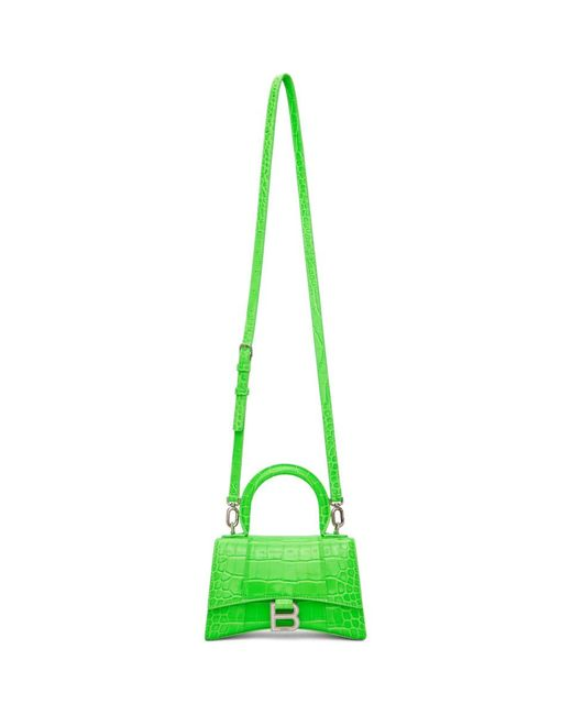 Balenciaga グリーン Xs クロコ Hourglass バッグ Green
