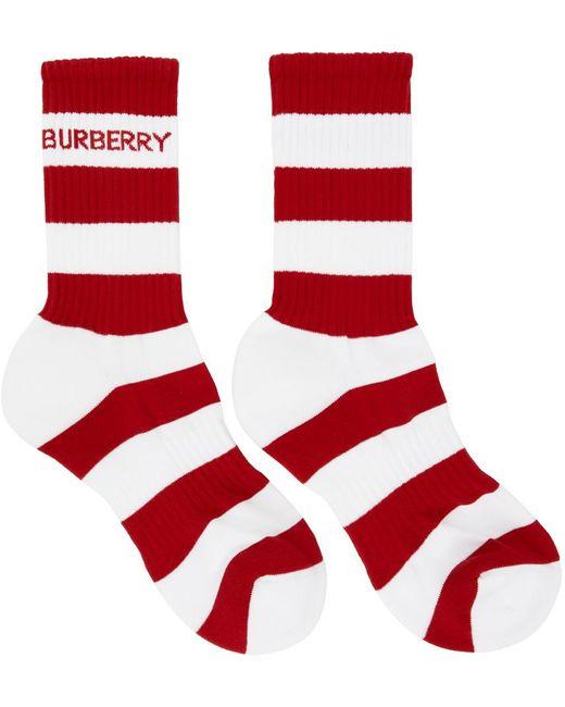 メンズ Burberry レッド & ホワイト ストライプ ソックス Red
