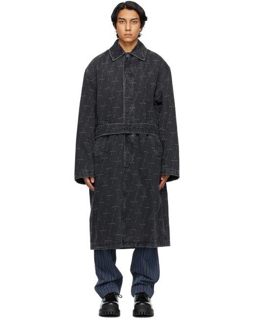 メンズ Balenciaga ブラック ロゴ トレンチ コート Black