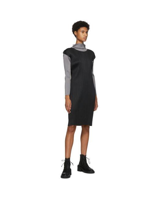 Pleats Please Issey Miyake ブラック スリーブレス ショート ドレス Black